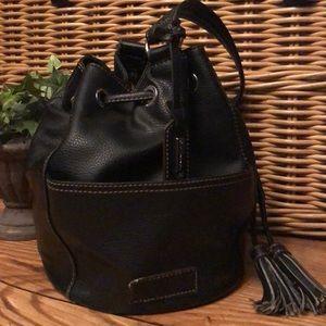 Black Leather Tignanello Bucket Bag-GUC
